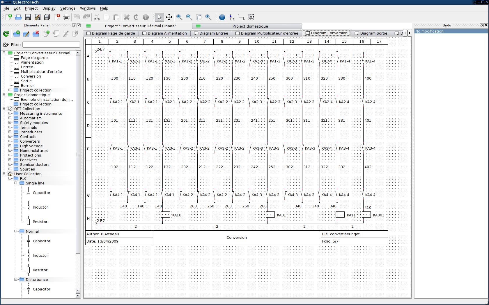 Qelectrotech снимки интерфейса программы Qelectrotech